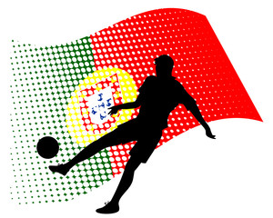 portugal soccer player against national flag