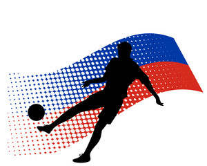 russia soccer player against national flag