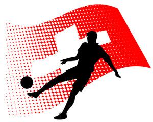 switzerland soccer player against national flag