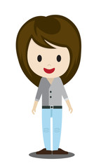 cute cartoon illustration of young people in stylish casual