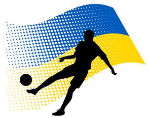 ukraine soccer player against national flag