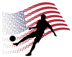 united states soccer player against national flag