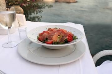 Plate of salmon salad