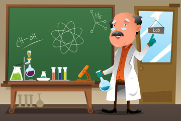 Chemistry professor working at the lab