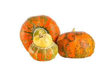 Three decorative pumpkins on white background