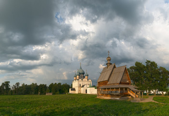 Russia. The sky over the Suzdal Kremlin.