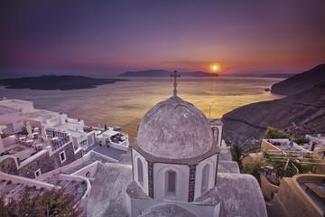 Fira sunset. Santorini island, Greece.