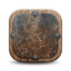 Plaque rustique - Bois et métal