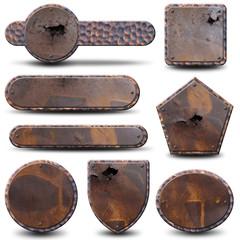 8 plaques métalliques grunge