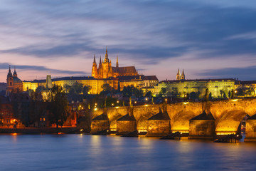 Prague Castle and Charles Bridge at sundown, Czech Republic