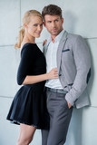 Sweet Young Caucasian Couple Fashion Shoot