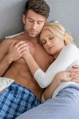 Romantic Middle Age Sexy Couple Sleeping on Bed