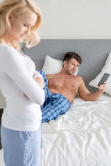 Young Caucasian Couple at Bedroom