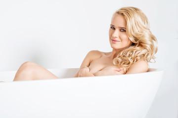 Gorgeous Caucasian Woman Inside White Bathtub
