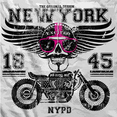 Motorcycle Skull New York Fun Man T shirt Graphic Design