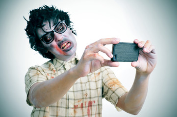 zombie taking a selfie, with a filter effect