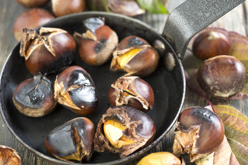 Chestnuts in a skillet.