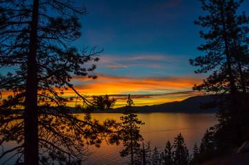 Amazing view of Lake Tahoe sunset