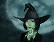 Cute witch with green skin