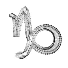 Capricorn zodiac sign. Shiny 3D connected dots on white