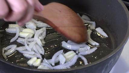 Deep frying piece of meat with onions
