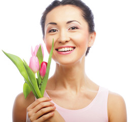 young asian woman with tulips