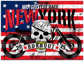 American Flag Skull Motorcycle Man T shirt Graphic