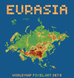 pixel art style illustration of eurasia physical world map poster