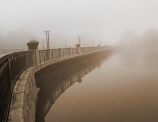 bridge in heavy fog