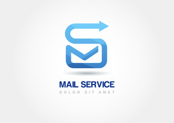 Abstract design concept for mail service. Vector logo template.