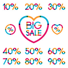 Set of colorful sale discount labels, from 10 to 90 percent. Vec
