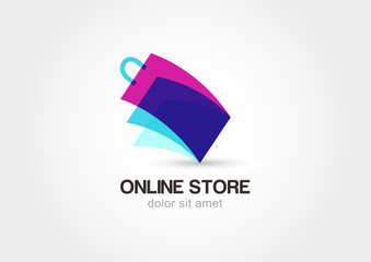 Abstract design concept for online store. Colorful shopping bag