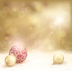 Desaturated golden christmas background with baubles