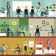 Business people at the office. Illustration.