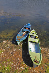 Pair of fishing boats near lake with vertical composition