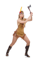 Indian woman with axes on white
