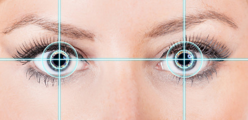 Close-up woman eyes with laser medicine.