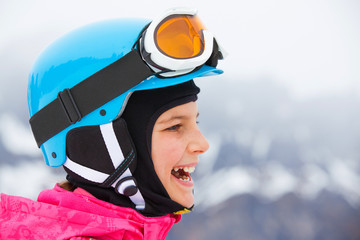 Girl has a fun on ski