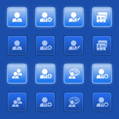 Users icons on blue buttons.