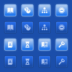 Icons for web on blue buttons.