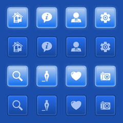 Basic icons for web on blue buttons.