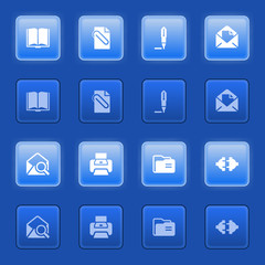 Email icons for web on blue buttons.