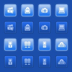 Electronics icons for web on blue buttons.