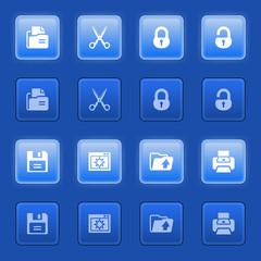 Document icons for web on blue buttons.