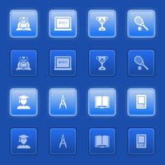 Education icons for web on blue buttons.