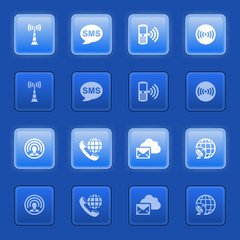 Communication icons for web on blue buttons.