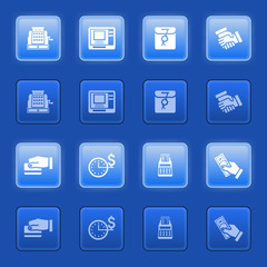 Business icons for web on blue buttons.
