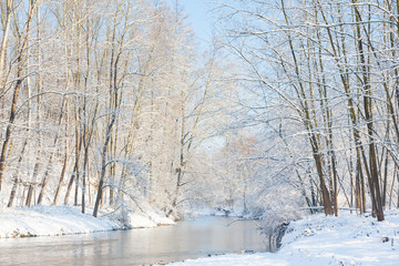 Winter landscape: small river in a snowy woods.