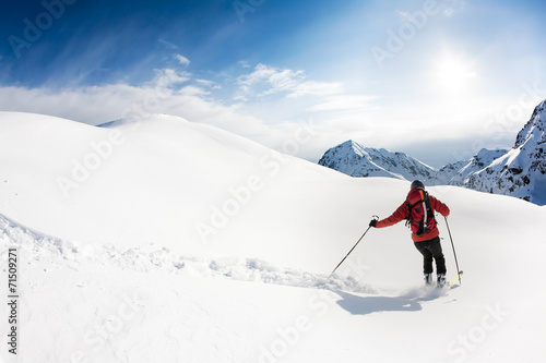Poster Skiing: male skier in powder snow. Italian Alps.