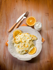 chicken with orange and yogurt sauce